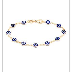 Gold & Royal BLUE Crystal Evil Eye Ankle Bracelet